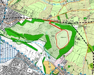 From Gedling planning portal, country park bounded by Spring Lane and Lambley Lane to north and east. Porposed solar farm outlined in red
