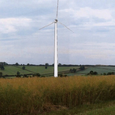 Photomontage showing approximate scale of turbine in the landscape of Woodborough Valley, created by WACAT