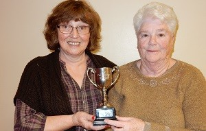 Winners of the Val Malone Cup for most improved pair, Lin Lomas and Pat Sulley.