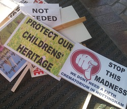 Protest banners at the last planning meeting